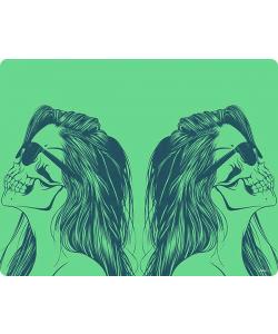 Skull Girl - iPhone 6 Husa Book Alba Piele Eco