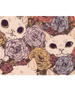 Flower Cats - iPhone 6 Plus Carcasa TPU Premium Neagra