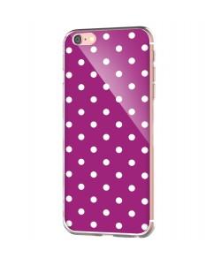 Purple White Dots - iPhone 6 Carcasa Transparenta Silicon