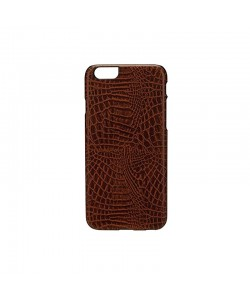 Croco Dark Brown - iKins iPhone 6/6S Carcasa TPU + Piele Eco