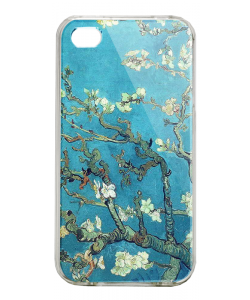 Van Gogh - Branches with Almond Blossom - iPhone 4/4S Carcasa Alba/Transparenta Plastic