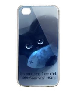 Sea Food - iPhone 4/4S Carcasa Alba/Transparenta Plastic