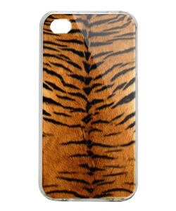 Tiger Fur - iPhone 4/4S Carcasa Alba/Transparenta Plastic