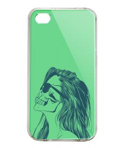 Skull Girl - iPhone 4/4S Carcasa Alba/Transparenta Plastic