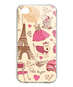 France - iPhone 4/4S Carcasa Alba/Transparenta Plastic