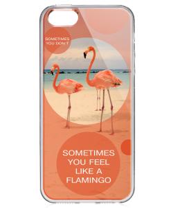 Flamingo Feeling - iPhone 5/5S Carcasa Transparenta Silicon