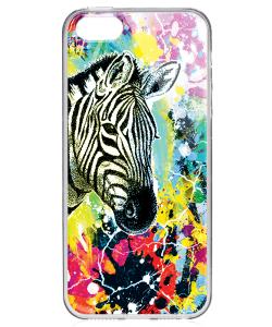 Zebra Splash - iPhone 5/5S/SE Carcasa Transparenta Silicon