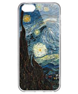 Van Gogh - Starry Night - iPhone 5/5S/SE Carcasa Transparenta Silicon