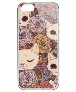 Flower Cats - iPhone 5/5S/SE Carcasa Transparenta Silicon