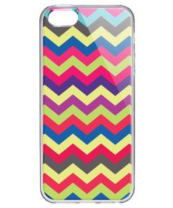 Colorful Zig-Zag - iPhone 5/5S Carcasa Transparenta Silicon