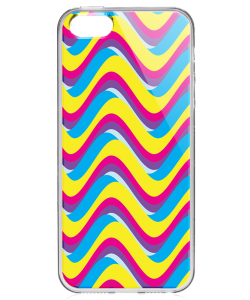 CMYK Waves - iPhone 5/5S Carcasa Transparenta Silicon