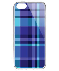 Blue Plaid - iPhone 5/5S Carcasa Transparenta Silicon