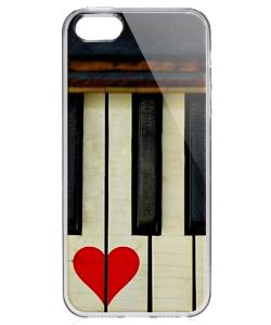 Piano Love - iPhone 5/5S Carcasa Transparenta Silicon