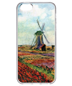 Claude Monet - Fields of Tulip With The Rijnsburg Windmill - iPhone 5/5S Carcasa Transparenta Silicon