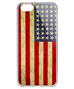American Flag - iPhone 5/5S/SE Carcasa Transparenta Silicon