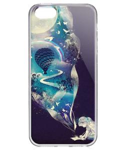 Blue Dream - iPhone 5/5S/SE Carcasa Transparenta Silicon