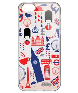 London Collage - iPhone 5/5S/SE Carcasa Transparenta Silicon