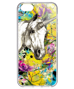 Unicorns and Fantasies - iPhone 5/5S/SE Carcasa Transparenta Silicon