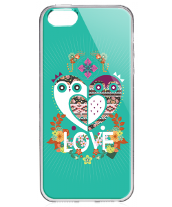Owl Love - iPhone 5/5S/SE Carcasa Transparenta Silicon