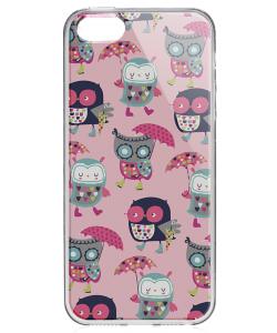 Pastel Owls - iPhone 5/5S/SE Carcasa Transparenta Silicon