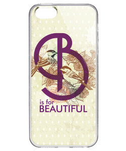 B is for Beautiful - iPhone 5/5S/SE Carcasa Transparenta Silicon