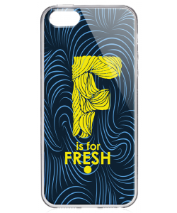 F is for Fresh - iPhone 5/5S/SE Carcasa Transparenta Silicon