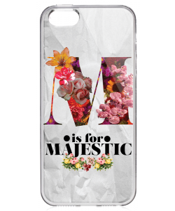 M is for Majestic 2 - iPhone 5/5S/SE Carcasa Transparenta Silicon