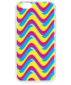 CMYK Waves - iPhone 6 Carcasa Transparenta Silicon