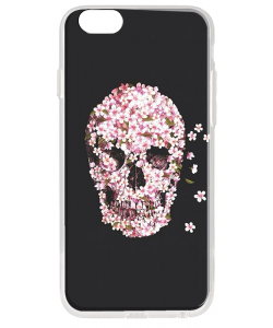 Cherry Blossom Skull - iPhone 6 Plus Carcasa Transparenta Silicon