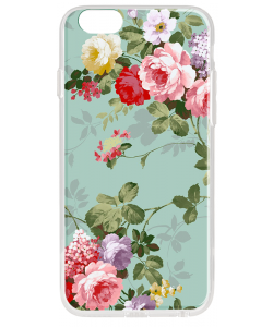Retro Flowers Wallpaper - iPhone 6 Plus Carcasa Transparenta Silicon