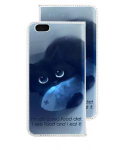 Sea Food - iPhone 6 Husa Book Alba Piele Eco