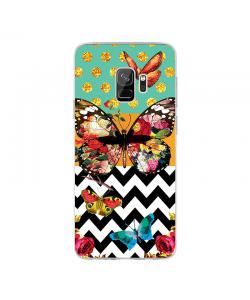 Butterfly Contrast - Samsung Galaxy S9 Carcasa Transparenta Silicon