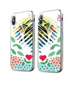 Hipster Meow Heart - iPhone X Carcasa Transparenta Silicon