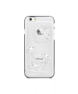 Crystal Flora Silver - Comma Carcasa iPhone 6/6S TPU (cu cristale si rama electroplacata)