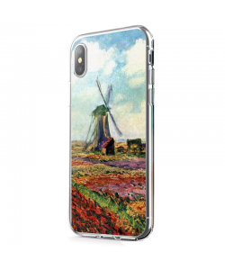 Claude Monet - Fields of Tulip With The Rijnsburg Windmill - iPhone X Carcasa Transparenta Silicon
