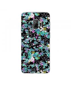 Floral Black - Samsung Galaxy S9 Carcasa Transparenta Silicon