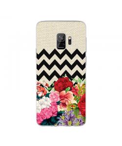 Floral Contrast - Samsung Galaxy S9 Carcasa Transparenta Silicon