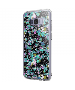 Floral Black - Samsung Galaxy S8 Carcasa Premium Silicon