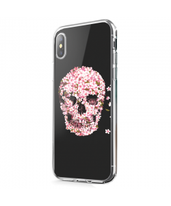 Cherry Blossom Skull - iPhone X Carcasa Transparenta Silicon
