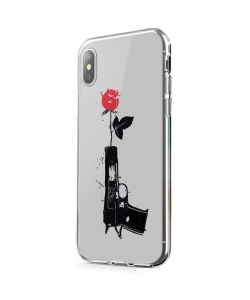 Flower Gun - iPhone X Carcasa Transparenta Silicon