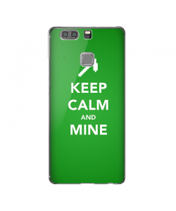 Keep Calm and Mine - Huawei P9 Carcasa Transparenta Silicon