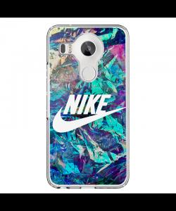 Glitchy Nike - LG Nexus 5X Carcasa Transparenta Silicon