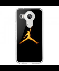 Golden Jordan Logo - LG Nexus 5X Carcasa Transparenta Silicon