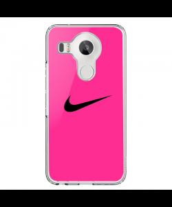 Pink Nike - LG Nexus 5X Carcasa Transparenta Silicon
