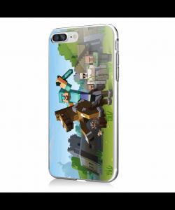 Minecraft Horse - iPhone 7 Plus / iPhone 8 Plus Carcasa Transparenta Silicon