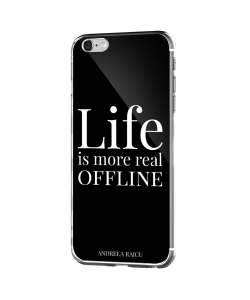 """Life is more real offline"" - Negru - iPhone 6 Plus Carcasa Silicon Premium"