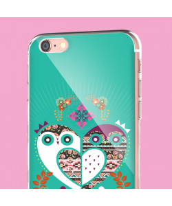 Owl Love - iPhone 6 Carcasa Transparenta Silicon