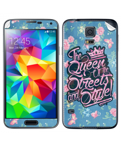 Queen of the Streets - Floral Blue - Samsung Galaxy S5 Skin