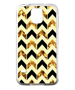 Black & Gold - Samsung Galaxy S5 Mini Carcasa Transparenta Silicon
