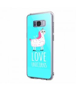 Love Unicorns - Samsung Galaxy S8 Carcasa Transparenta Silicon